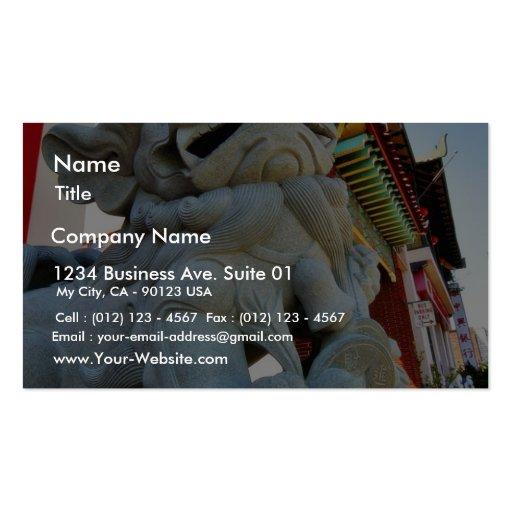 Perro de Foo en Chinatown en Los Ángeles Plantillas De Tarjeta De Negocio