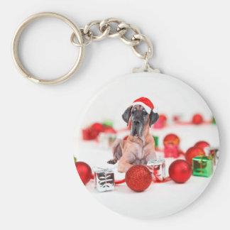 Perro de great dane con los regalos de los llavero redondo tipo pin