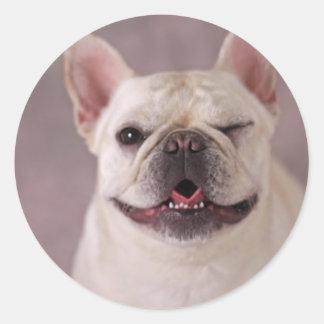 Perro de guiño divertido dogo francés etiqueta redonda