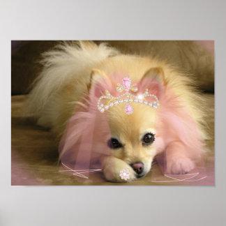 perro de hadas de la princesa con la corona del di póster