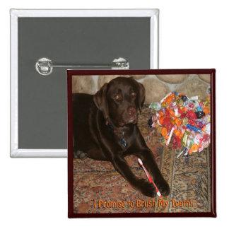 Perro de Halloween con el gusto por lo dulce Pin Cuadrado