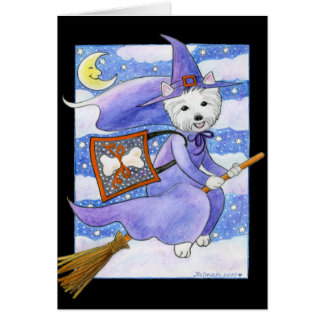 Perro de Halloween Westie Tarjeta De Felicitación