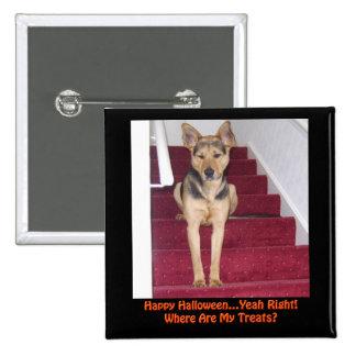 Perro de Halloween y ningunas invitaciones Pin Cuadrado