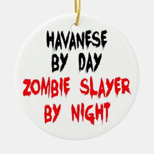 Perro de Havanese del asesino del zombi Ornaments Para Arbol De Navidad
