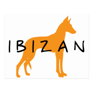 Perro de Ibizan oro con el texto Postal