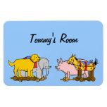 Perro de juguete del vintage, caballo, cerdo, elef imanes rectangulares