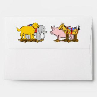 Perro de juguete del vintage, caballo, cerdo, sobre
