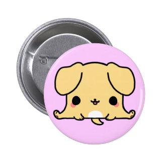 Perro de Kawaii (usted cambia el fondo!) Pin Redondo De 2 Pulgadas