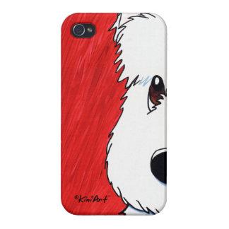 Perro de KiniArt Westie en rojo iPhone 4/4S Carcasa