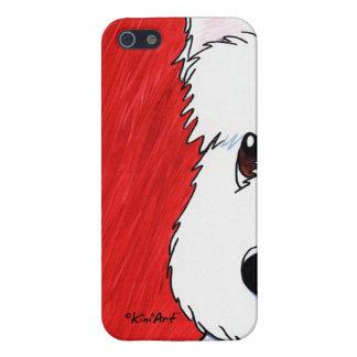 Perro de KiniArt Westie en rojo iPhone 5 Carcasas