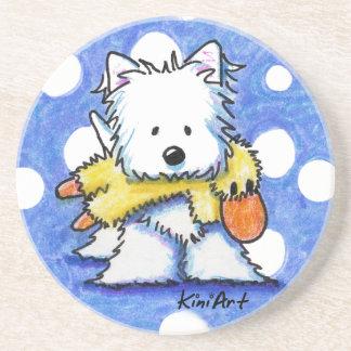 Perro de KiniArt Westie y práctico de costa del ju Posavasos Manualidades