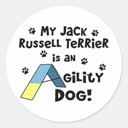 Perro de la agilidad de Jack Russell Terrier Pegatina Redonda