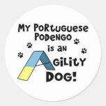 Perro de la agilidad de Podengo del portugués Pegatina Redonda