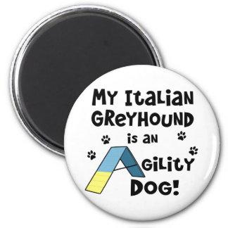 Perro de la agilidad del galgo italiano imán redondo 5 cm