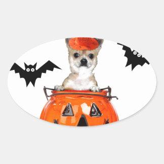 Perro de la chihuahua de Halloween Pegatina Ovalada