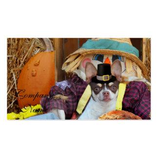 Perro de la chihuahua de la acción de gracias tarjetas de visita