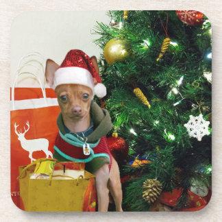 Perro de la chihuahua del navidad posavasos de bebidas