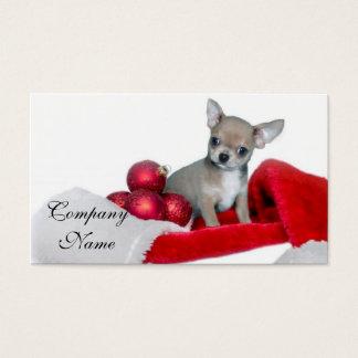 Perro de la chihuahua del navidad tarjeta de negocios