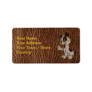 Perro de la Cuero-Mirada Etiqueta De Dirección