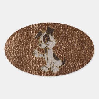Perro de la Cuero-Mirada Pegatina Ovalada