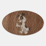 Perro de la Cuero-Mirada Pegatinas Óvales