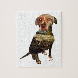 perro de la exposición doble puzzle con fotos