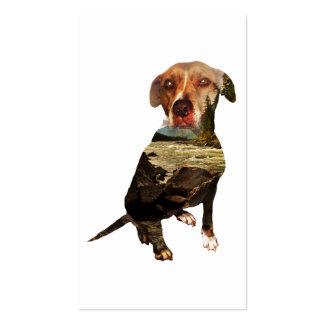 perro de la exposición doble tarjetas de visita