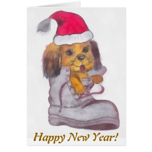 Perro de la Feliz Año Nuevo Felicitaciones