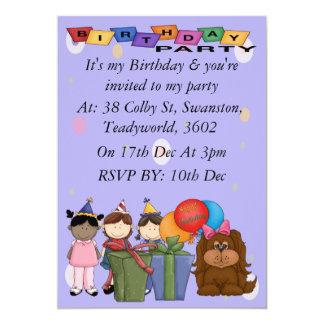 Perro de la fiesta de cumpleaños invitación 12,7 x 17,8 cm
