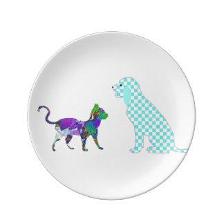 Perro de la guinga y gato de calicó platos de cerámica