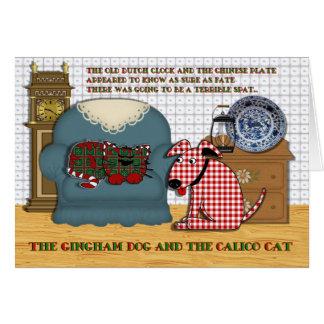Perro de la guinga y gato de calicó tarjeta de felicitación