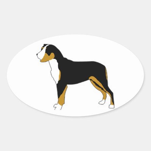 Perro de la montaña de Entlebucher Pegatina Ovalada