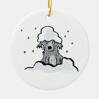 perro de la nieve adorno