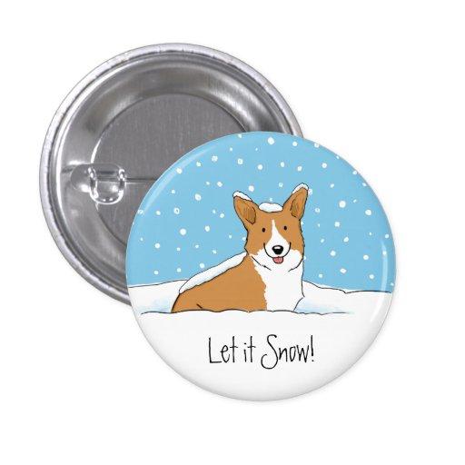 Perro de la nieve del Corgi Galés del Pembroke Pin Redondo 2,5 Cm