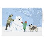 Perro de la nieve del Keeshond Felicitacion