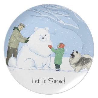 Perro de la nieve del Keeshond Platos