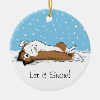 Perro de la nieve del perro pastor de Shetland - Adorno Navideño Redondo De Cerámica