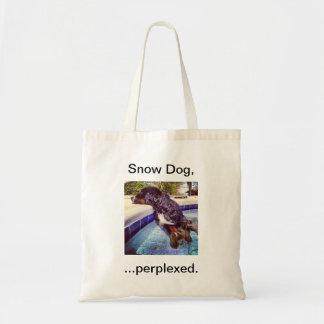 Perro de la nieve,… perplejo bolsa tela barata