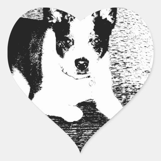 Perro de la pluma y de la tinta en el amortiguador calcomanías de corazones personalizadas