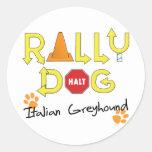 Perro de la reunión del galgo italiano pegatina redonda