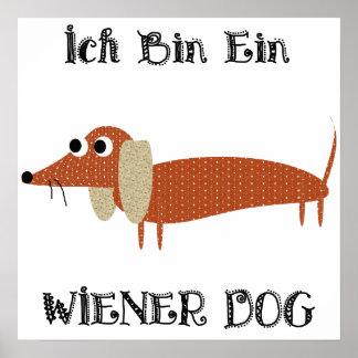 Perro de la salchicha de Frankfurt de Ein del bin  Posters