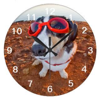 Perro de la seguridad reloj redondo grande