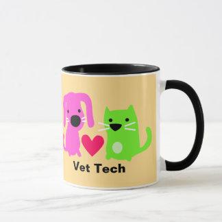 Perro de la tecnología del veterinario y gato y taza