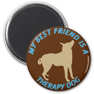 Perro de la terapia del mejor amigo imán redondo 5 cm