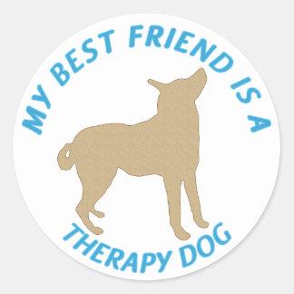 Perro de la terapia del mejor amigo pegatina redonda