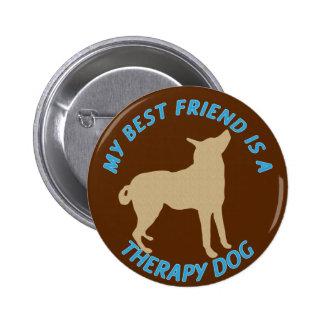Perro de la terapia del mejor amigo pin redondo de 2 pulgadas