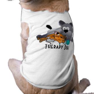 Perro de la terapia - extra grande playera sin mangas para perro