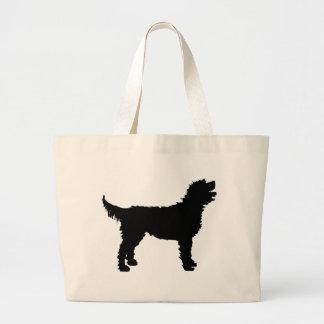 Perro de Labradoodle (en negro) Bolsa Tela Grande