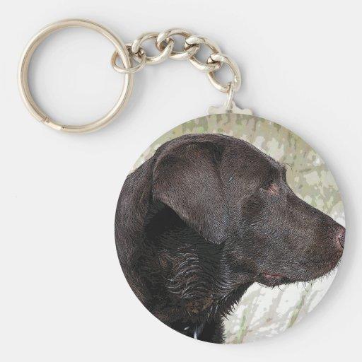 Perro de Labrador del chocolate Llavero Redondo Tipo Pin