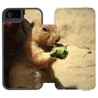 Perro de las praderas atado negro funda billetera para iPhone 5 watson